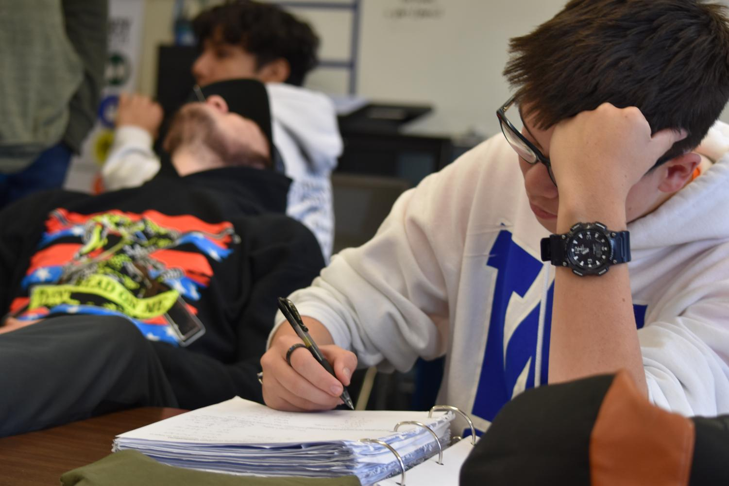 Senior Elijah Price has spent his high school career grade-focused and is now taking the steps needed to apply for college. The rising cost is in the back of his mind, though. Photo by Madisun Tobisch.