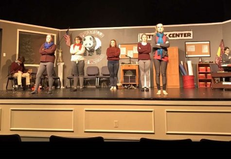 "Cast members line the stage during one of the performances of this year's fall production, ""Class Act."""