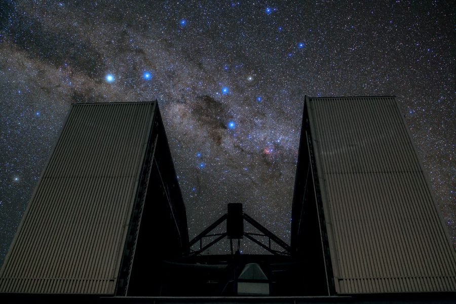 Rising up to block part of the star-studded sky, the New Technology Telescope (NTT) cuts a striking and dramatic figure in this ESO Picture of the Week. Located at ESO'sLa Silla Observatory in the Chilean Atacama Desert, the NTT was inaugurated in 1989. It was the first ever telescope to have a computer-controlled main mirror. This 3.58-metre mirror is very flexible and its shape can be continuously changed, allowing astronomers to counteract deformations due to external influences such as wind, temperature and mechanical stress mid-observation in order to see the objects as clearly as possible. Complementing the NTT's groundbreaking technology is the innovative design of its housing. Its octagonal dome is relatively small and includes a series of flaps that ventilate the structure with reduced turbulence, allowing air to flow smoothly across the mirror. The dome walls can be opened entirely — as opposed to only opening the roof, as with conventional domes — to reveal large swathes of the southern sky. This image was taken by ESO Photo Ambassador Babak Tafreshi.