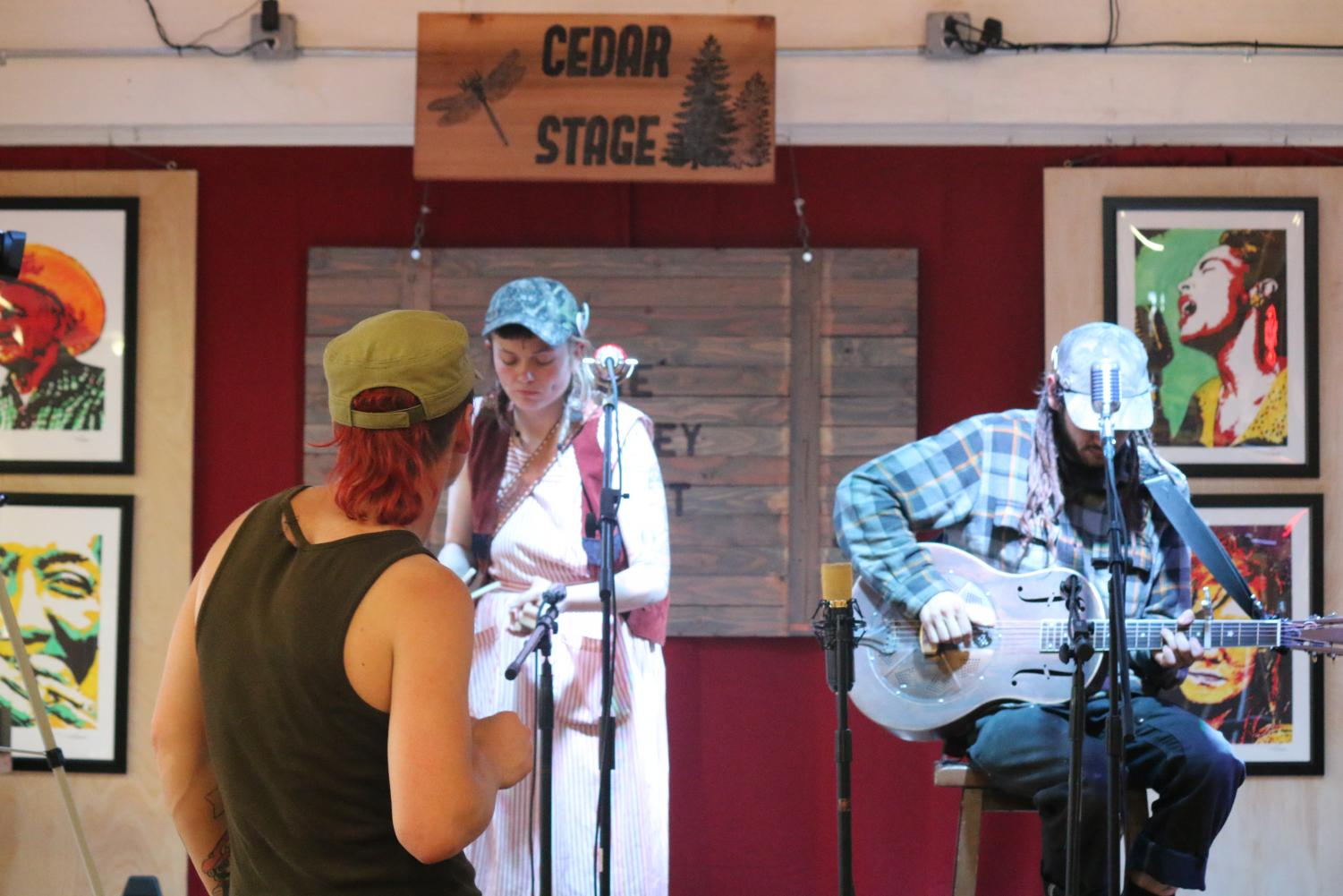 Locals dance and listen to the Westbound Coyote String Band perform.