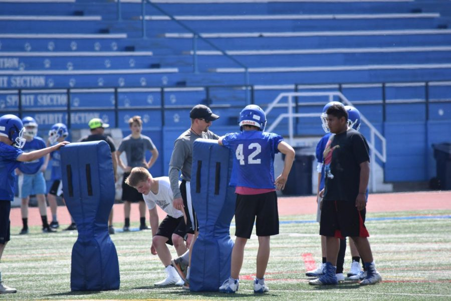 SWHS Football players begin practicing for the upcoming season.