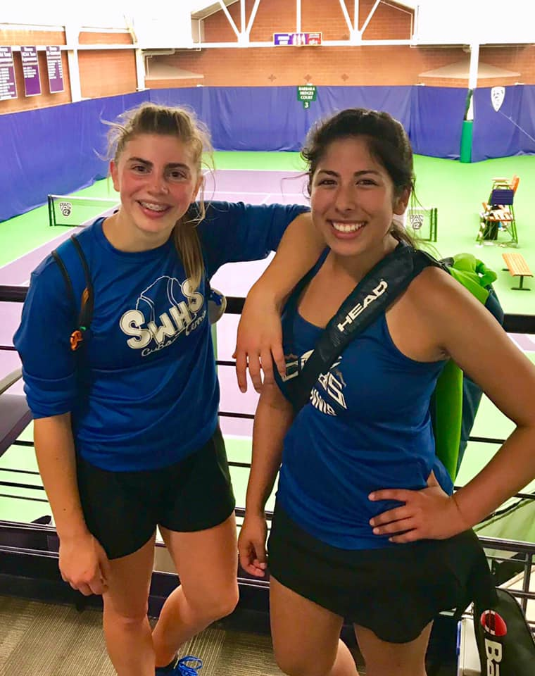 Anna Rutherford and teammate Maya Becerra celebrate placing fourth state wide.