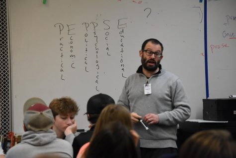 Poet Jefferey Morgan visits a tenth grade classroom to share the art of poetry. He teaches through the Skagit River Poetry Foundation's Poets in the Schools program.